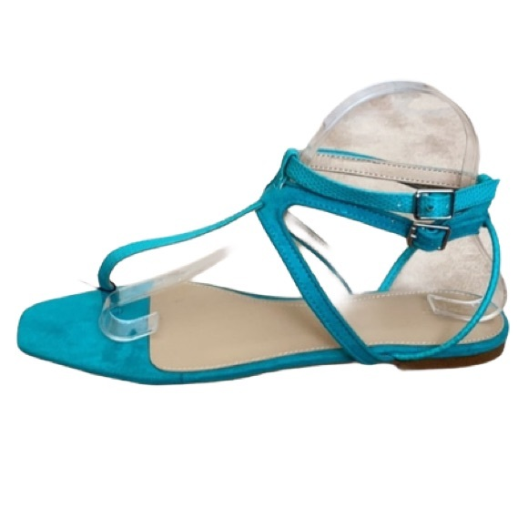 Zara  turquoise suede double ankle strap  …
